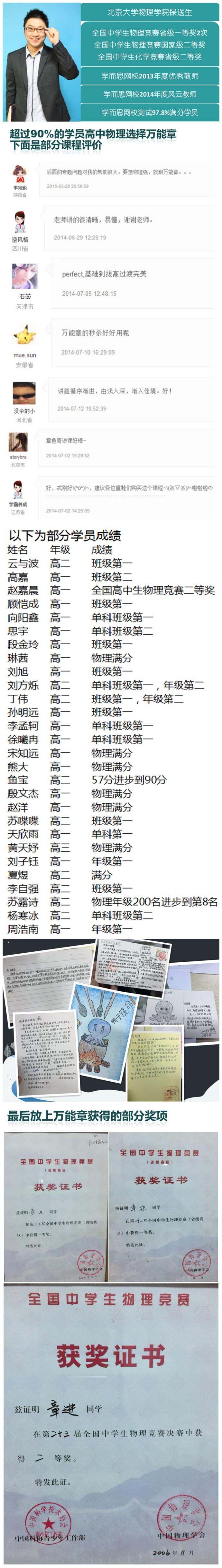 学而思网校-高中物理-清北名师-章进(万能章)老师简介